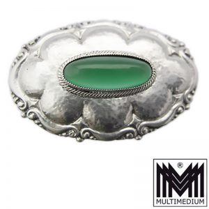 Jugendstil Silber Brosche Martin Mayer Pforzheim antik Achat grün silver brooch