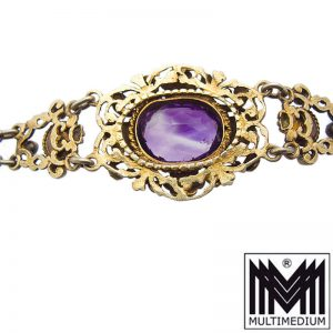 Antikes Silber Neorenaissance Armband Historismus Amethyst Perle Trachten