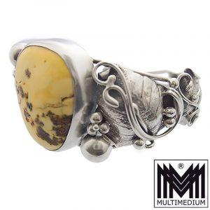 Butterscotch Bernstein Silber Armreif Armband Blumen Antik amber silver bracelet