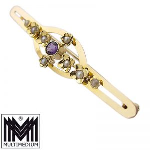 Antike Jugendstil 15ct Gold Brosche Saatperlen Amethyst filigran pearl brooch