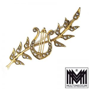Antike Jugendstil 15ct / 625 Gold Brosche Saatperlen filigran pearls brooch 1920