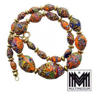 Art Deco Murano Glas Kette Halskette facettiert necklace millefiori