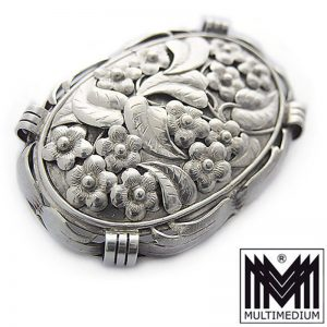 Art Deco Silber Brosche Handarbeit Blumen silver brooch handmade