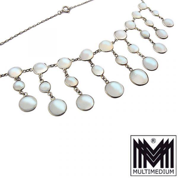 Jugendstil Mondstein Silber Collier Halskette moonstone silver necklace