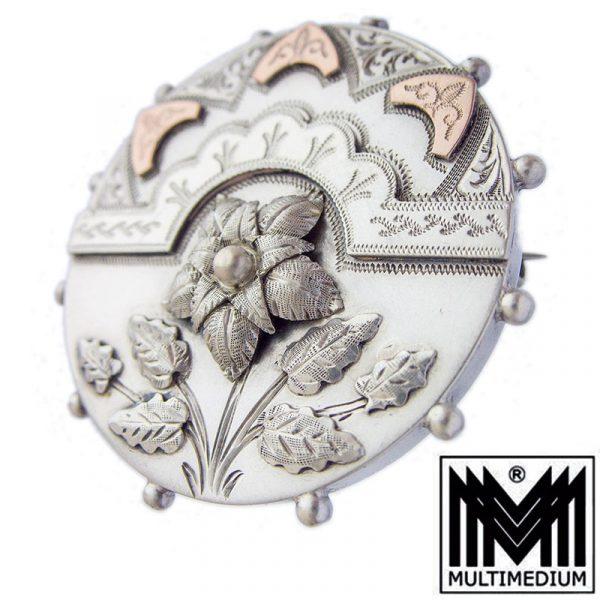 Viktorianische Silber Brosche Blumen Victorian Art nouveau silver brooch flowers