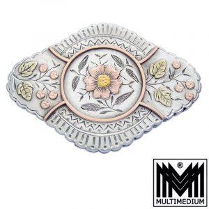 Victorianische Silber Brosche Blumen Victorian Art nouveau silver brooch flowers