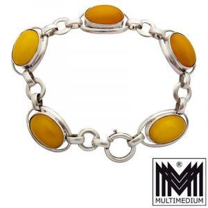 Art Deco Butterscotch Bernstein Armband Silber amber silver bracelet