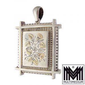 Historismus Silber Rosé Gold Medaillon Blumen Victorian silver locket