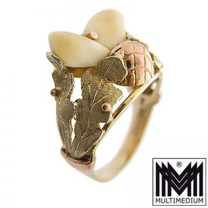 14ct 585er Gold Ring Grandel Hirsch zahn Charivari brooch deer teeth 14k Tracht