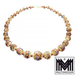 Alte Murano Glas Kette Halskette old murano glas necklace millefiori