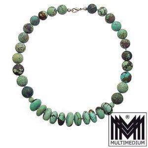 Türkis Halskette Steinkette Kugel Kette turquoise necklace sphere