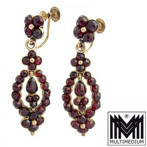 Antike 585er Gold Biedermeier Granat Ohrringe 14ct earrings garnet