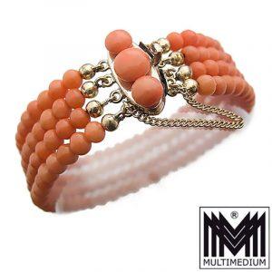 Antikes Korallen Armband 4-reihig lachsfarben Koralle coral bracelet