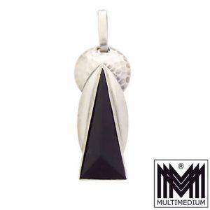 VERKAUFT - Zwernemann Art Deco Silber Anhänger 935 Onyx Ges.Gesch silver pendant