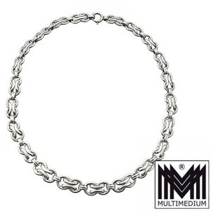 Art Deco Silber Halskette Collier Handarbeit Kette silver necklace