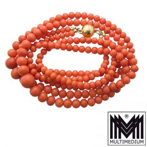 Vintage Korallen Kette 2-reihig lachsfarben Halskette Koralle Magnet