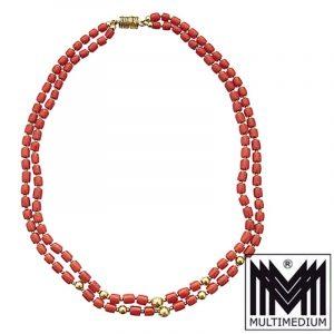 750er Gold Vintage Korallen Kette 2reihig Sardegna Zylinder Halskette