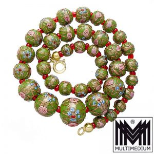 Vintage Murano Glas Kette Halskette Grün glass necklace millefiori