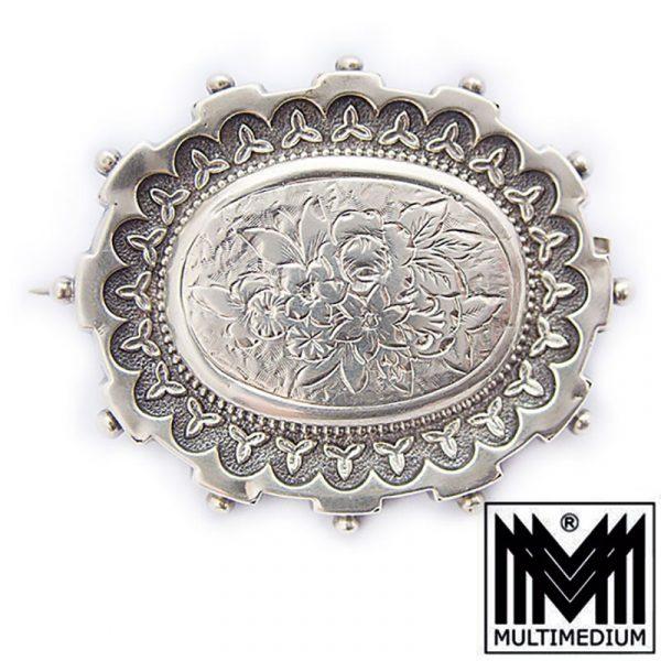 Historismus Silber Brosche ziseliert victorian silver brooch chiseled