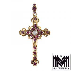Historismus Siebenbürgen Silber Kreuz Anhänger Almandin Granat Antik