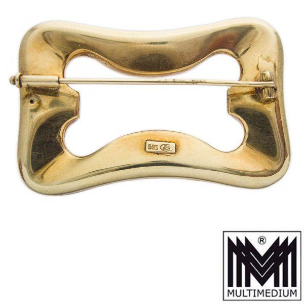 Georg Lauer Art Deco 585 Gold Brosche ziseliert Pforzheim 20er Jahre