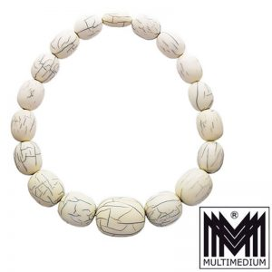 Große Art Deco Bein Bakelit Halskette bone bakelite necklace 195g