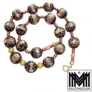 Vintage Murano Glas Kette Halskette schwarz necklace millefiori black