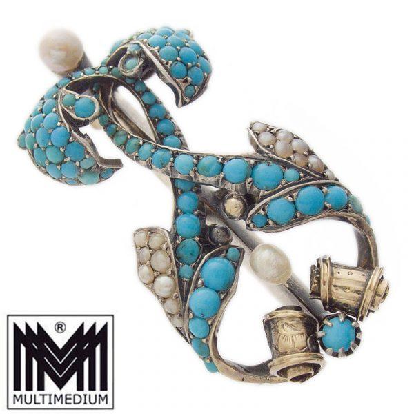 Antike Biedermeier Brosche Silber Türkis Saatperlen um 1860 turquoise seed pearls