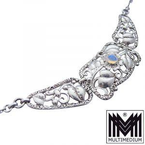Jugendstil Mondstein Silber Collier Halskette nouveau silver necklace