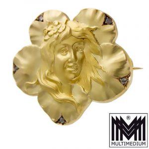 Jugendstil 750er Gelbgold Brosche Dame Art Nouveau 18ct gold brooch