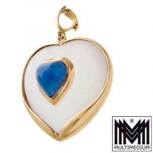 585 Gold Herz Vario Clip Anhänger Saphir Bergkristall heart pendant