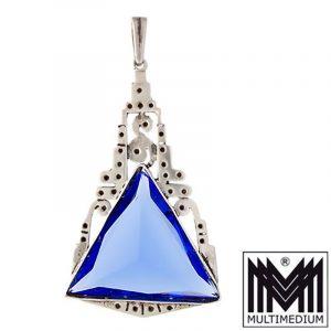 Art Deco Silber Anhänger Markasiten Dreieck Saphir Paste
