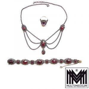 Vintage Granat Set Silber Collier Hals kette Armband Ring silver garnet Trachten