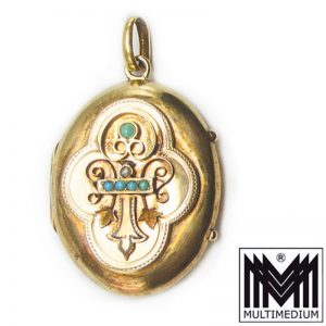 Biedermeier Historismus Gold Medaillon Anhänger Emaille Türkis Tracht