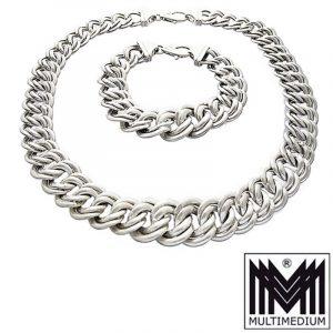Vintage Silber Collier Halskette Armband silver necklace bracelet set