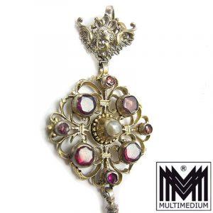 Antiker Historismus Silber Anhänger Granat Engel Tracht silver pendant garnet