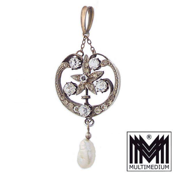 Jugendstil Anhänger um 1900 in Silber Straß Perle