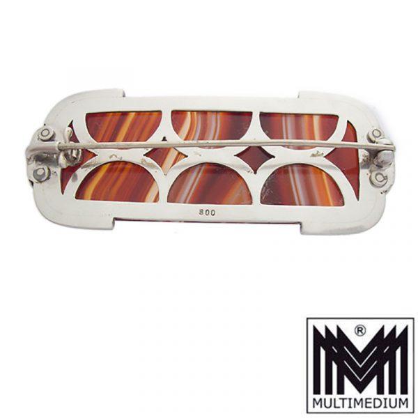 Art Deco Streifenachat Silber Brosche Edwardian Scottish pebble Jewelry brooch