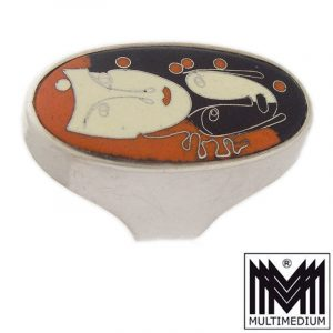 Art Deco Emaille Fingerring Masken 30er Jahre enamel ring masks