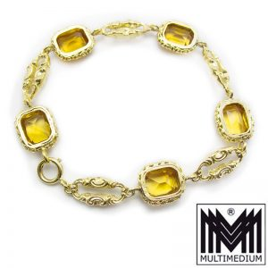 Art Deco Silber vergoldet Armband Citrin e silver gilt bracelet yellow quartz