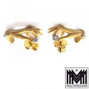 585 Gelb Gold Diamant Ohrringe Ohrstecker Hand 14Kt earrings