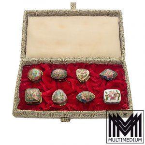 Acht Cloisonné Emaille Döschchen China 50er vintage enamel boxes 50s