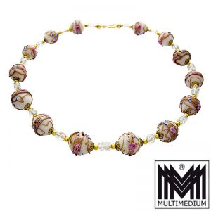 Vintage Murano Glas Kette Halskette weiß glass necklace millefiori