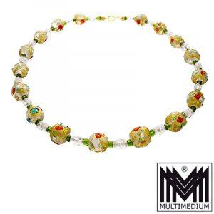 Antike Murano Glas Kette Halskette klar glass necklace millefiori