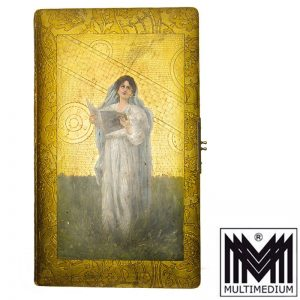 Antikes Jugendstil Photo Album Ölbild auf Leder Malerei Goldprägung