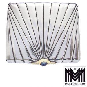 Art Deco Zigarettenetui Silber Gold Saphir silver cigarette case box Johann FRANZ jun