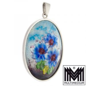L. Parot Limoges Art Deco Emaille Silber Anhänger Blume silver enamel
