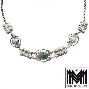 Jugendstil Türkis Silber Collier Halskette skonvirke silver necklace