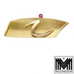 """585er Gelbgold Modernist Gold Brosche Rubin Buchstabe kleines """"i"""" i"""