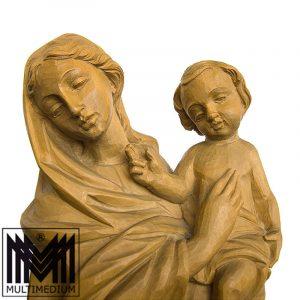 XXL 60cm Holz Schnitzerei Maria Mondsichel Madonna wood figure carved